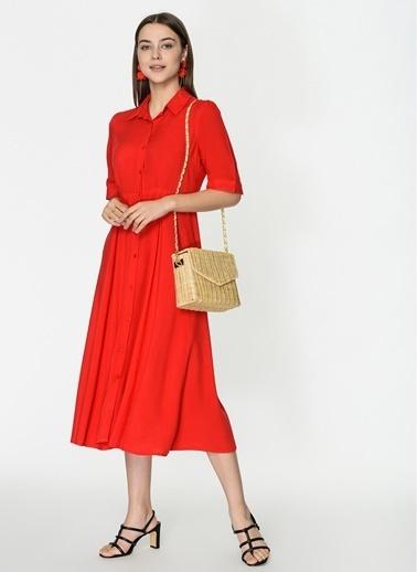 Loves You Astarlı Midi Boy Gömlek Elbise Kırmızı